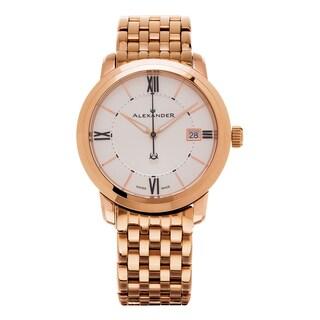 Alexander Men's 'Macedon' Silver Dial Rose Goldtone Stainless Steel Swiss Quartz Heroic Watch