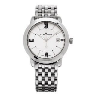 Alexander Men's 'Macedon' Silver Dial Stainless Steel Bracelet Date Swiss Quartz Heroic Watch