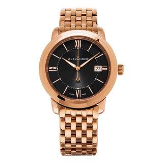 Alexander Men's 'Macedon' Black Dial Rose Goldtone Stainless Steel Swiss Quartz Heroic Watch