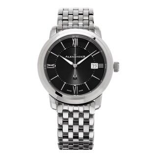 Alexander Men's 'Macedon' Black Dial Stainless Steel Bracelet Date Swiss Quartz Heroic Watch