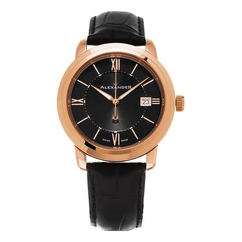 Alexander Men's 'Macedon' Black Dial Black Leather Strap Date Swiss Quartz Heroic Watch