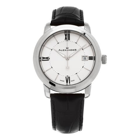 Alexander Men's 'Macedon' Silver Dial Black Leather Strap Date Swiss Quartz Heroic Watch