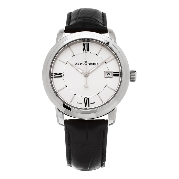 Alexander Men's 'Macedon' Silver Dial Black Leather Strap Date Swiss Quartz Heroic Watch. Opens flyout.