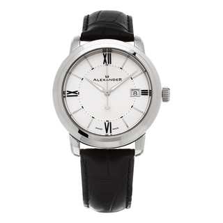 Alexander Men's A111-02 'Macedon' Silver Dial Black Leather Strap Date Swiss Quartz Heroic Watch