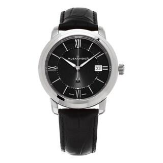 Alexander Men's A111-01 'Macedon' Black Dial Black Leather Strap Date Swiss Quartz Heroic Watch