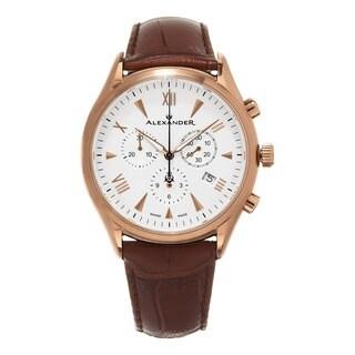Alexander Men's A021-04 'Pella' Silver Dial Brown Leather Strap Swiss Quartz Chronograph Watch
