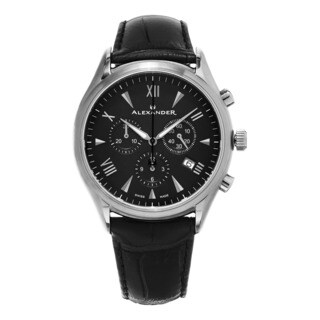 Alexander Men's Swiss Made Chronograph Pella Black Leather Strap Watch