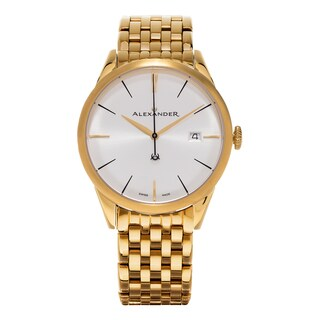 Alexander Men's A911B-08 'Sophisticate' Silver Dial Yellow Goldtone Stainless Steel Swiss Quartz Watch