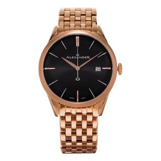 Alexander Men's 'Sophisticate' Black Dial Rose Goldtone Stainless Steel Swiss Quartz Dress Watch