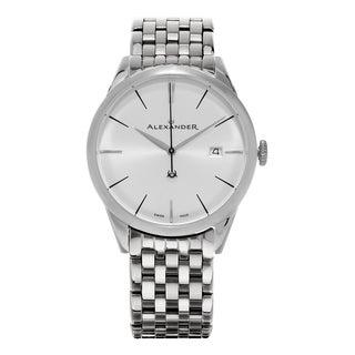 Alexander Men's A911B-04 'Sophisticate' Silver Dial Stainless Steel Swiss Quartz Dress Watch