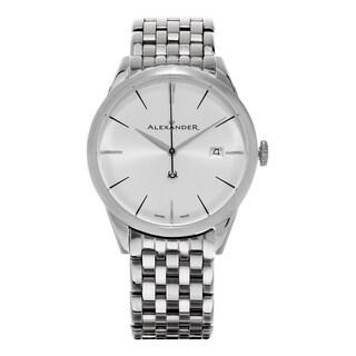 Alexander Men's 'Sophisticate' Silver Dial Stainless Steel Swiss Quartz Dress Watch