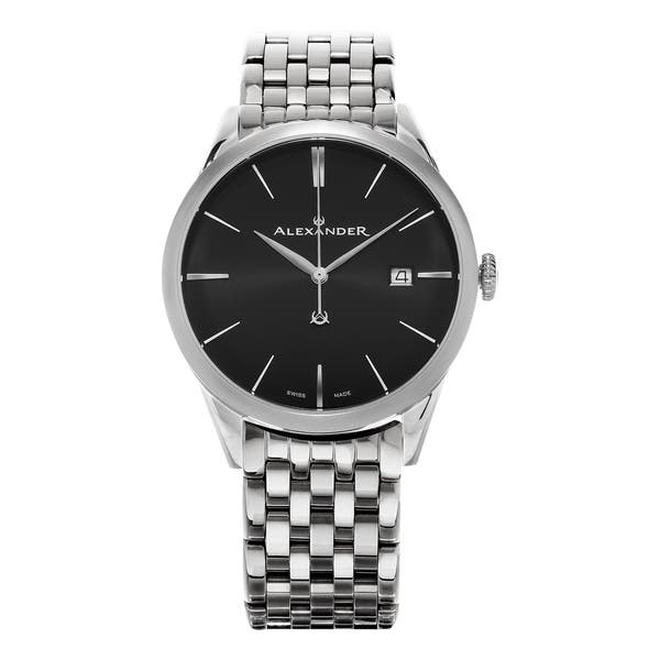 8bcd4814065 Alexander Men's 'Sophisticate' Black Dial Stainless Steel Swiss Quartz  Dress Watch