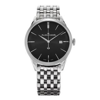 Alexander Men's 'Sophisticate' Black Dial Stainless Steel Swiss Quartz Dress Watch