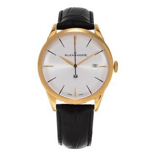 Alexander Men's A911-07 'Sophisticate' Silver Dial Black Leather Strap Yellow Goldtone Swiss Quartz Dress Watch