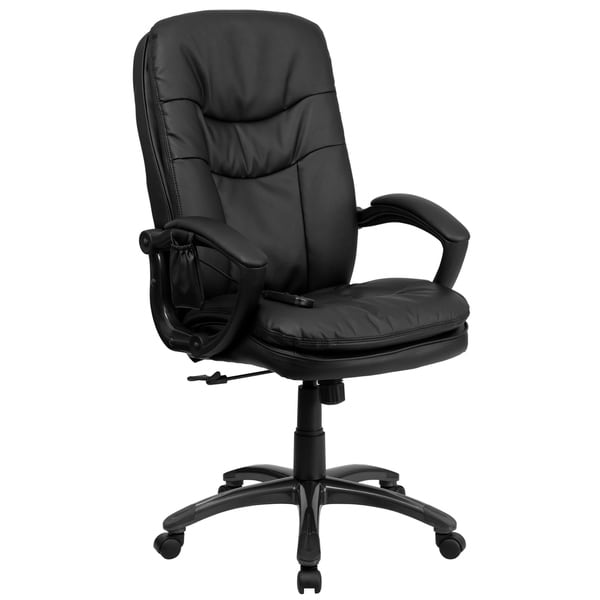 High Back Massaging Black LeatherSoft Executive Chair w/Remote Pocket &Arms