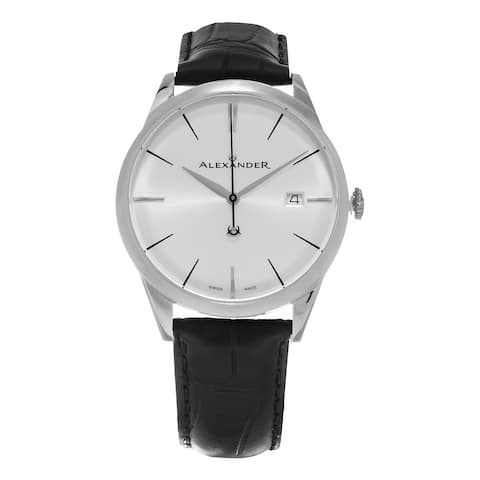 Alexander Men's 'Sophisticate' Silver Dial Black Leather Strap Swiss Quartz Dress Watch