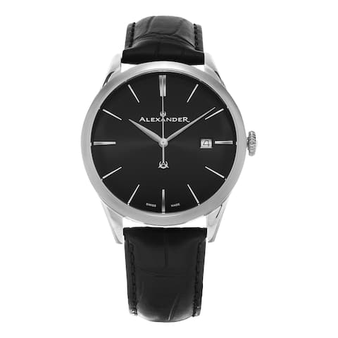 Alexander Men's 'Sophisticate' Black Dial Black Leather Strap Swiss Quartz Dress Watch