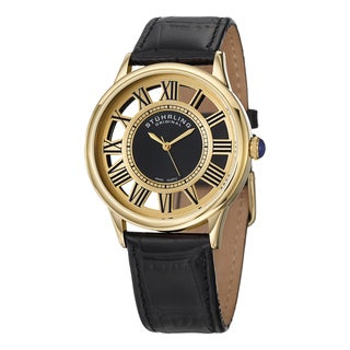 Stuhrling Originla Men's Symphony Swiss Quartz Skeleton Black Leather Strap