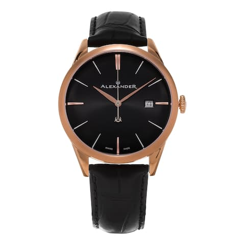 Alexander Men's 'Sophisticate' Black Dial Black Leather Strap Rose Goldtone Swiss Quartz Dress Watch - Two-tone