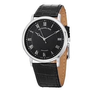 Stuhrling Original Men's Classique Swiss Quartz Black Leather Strap Watch