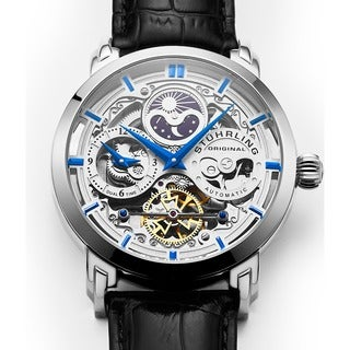 Stuhrling Original Men's 371 Series Skeleton Dial, Dual Time, AM/PM Sun Moon Stainless Steel Automatic Watch with Leather Band