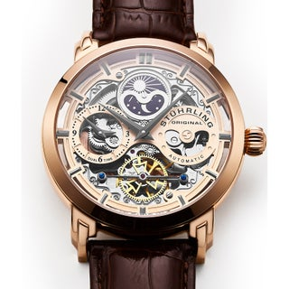 Stuhrling Original Men's 371 Series Skeleton Dial, Dual Time, AM/PM Sun Moon Stainless Steel Automatic Watch with Leather Band (Option: Rose tone)