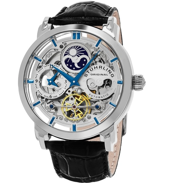stuhrling original men s anatol automatic skeleton leather strap stuhrling original men s anatol automatic skeleton leather strap watch