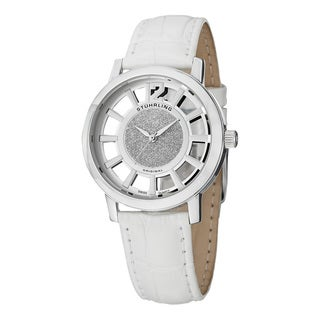 Stuhrling Original Women's Winchester Swiss Quartz White Leather Strap Watch Set