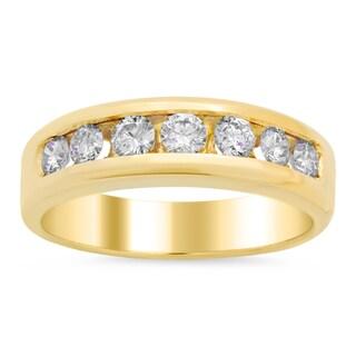 14k Yellow Gold Men's 1ct TDW Diamond Wedding Ring (E-F, VS1-VS2)
