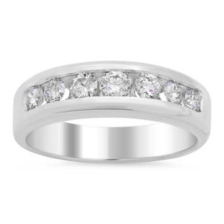 14k White Gold Men's 3/4 ct TDW Diamond Wedding Ring (E-F, VS1-VS2)
