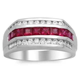 14k White Gold 4/5ct TDW Diamond and 4/5ct TGW Ruby Ring (F-G, VS1-VS2)