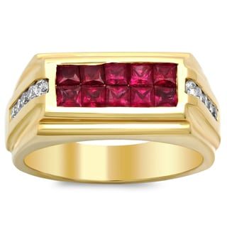 14k Yellow Gold 2/5ct TDW Diamond and 1 2/5ct TGW Ruby Ring (F-G, VS1-VS2)