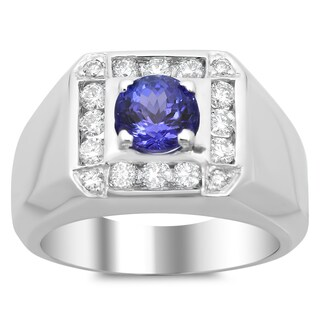 14k White Gold 1ct TDW Diamond and 2ct TGW Tanzanite Ring (F-G, VS1-VS2)
