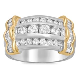 Artistry Collections 14k White Gold 2ct TDW Channel-set Diamond 3-row Ring (E-F, SI1-SI2)