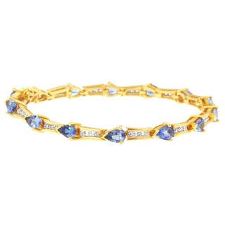 14k Yellow Gold 6 7/8ct TDW Round Diamond and Pear-cut Tanzanite Bracelet (H-I, I1-I2)