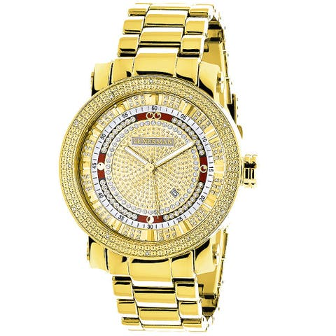 Luxurman Men'S Yellow Goldplated 1/8Ct Tdw Diamond Watch