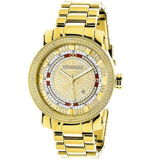 Luxurman Men's 18k Yellow Goldplated 1/8ct TDW Diamond Watch