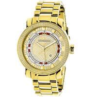 Luxurman Men'S Yellow Goldplated 1/8Ct Tdw Diamond Watch