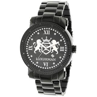 Luxurman Men's Phantom 1/8ct TDW Black Diamond Watch