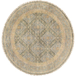 Hand-Knotted Colin Border New Zealand Wool Rug (8' Round)