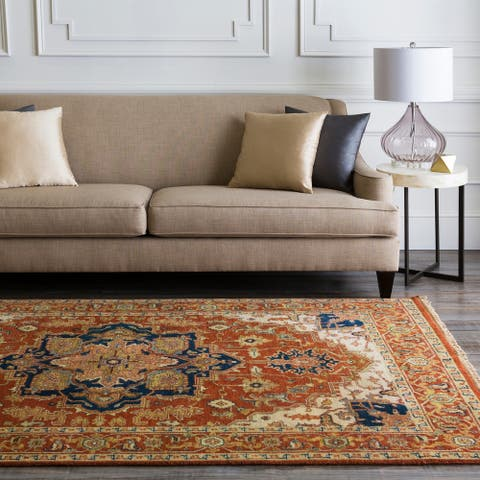 Hand-Knotted Conor Border New Zealand Wool Area Rug