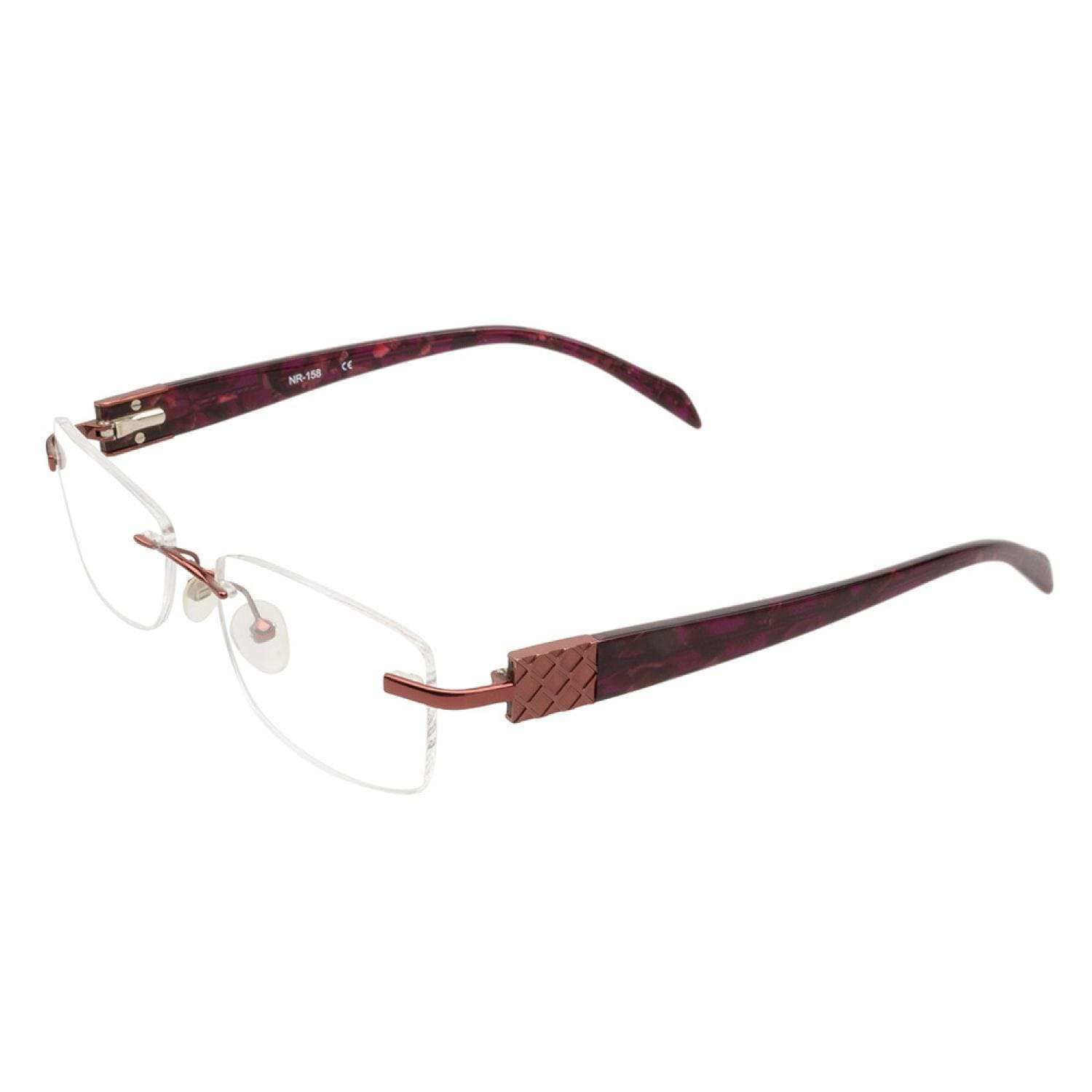 Shop Naturally Rimless NR158 BRG Burgundy Prescription Eyeglasses ...