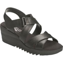 Women's Aerosoles Handbog Wedge Sandal Black Leather