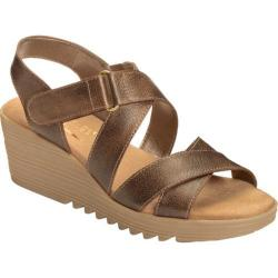 Women's Aerosoles Handbog Wedge Sandal Bronze Leather