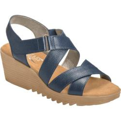 Women's Aerosoles Handbog Wedge Sandal Dark Blue Leather