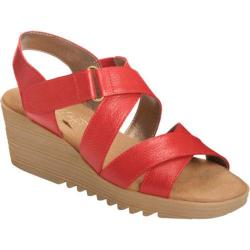 Women's Aerosoles Handbog Wedge Sandal Mid Red Leather