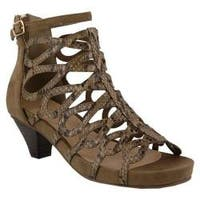 Women's Azura Lydney Caged Sandal Taupe Microsuede