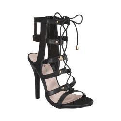 Women's Wild Diva Bahar-26-FE Gladiator Sandal Black Faux Leather