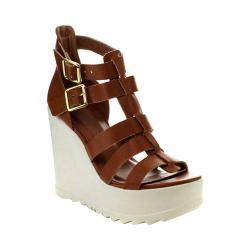 Women's Wild Diva Ellen-01-LF Gladiator Wedge Sandal Whisky Faux Leather