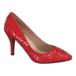 Women's Wild Diva Jayda-92-FE Pump Red Faux Leather/Glitter